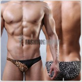 Leopard Mesh Transparent Bikini Men's Underwear