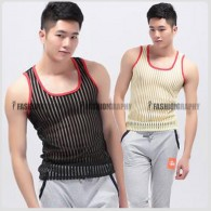 Mesh Transparent Stripe Singlet for Men