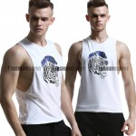 White Zebra Side Deep-V Singlet for Men