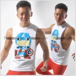 Captain America Comic Side Deep-V Hunky Singlet for Men