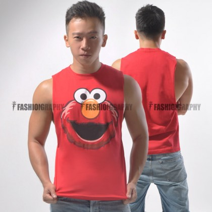 Elmo Side Deep-V Hunky Singlet