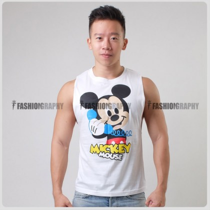 Baby Mickey Side Deep-V Hunky Singlet