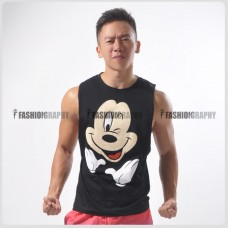 Mickey Side Deep-V Hunky Singlet