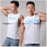 Help White Color Side Deep-V Hunky Singlet