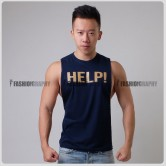 Help Dark Blue Color Side Deep-V Hunky Singlet
