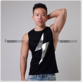 Thunder Black Color Side Deep-V Hunky Singlet