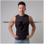 Thunder Brown Color Side Deep-V Hunky Singlet