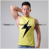 Thunder Yellow Color Side Deep-V Hunky Singlet