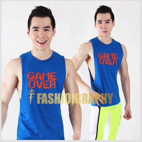 game over side deep-v sportswear men singlet