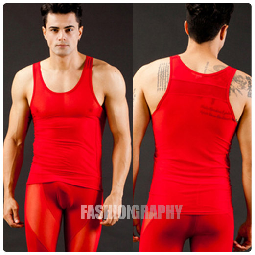Red Mesh Transparent Singlet
