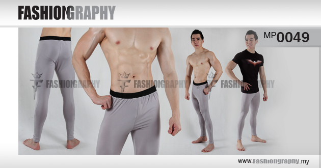 Silver active compression long pant for men
