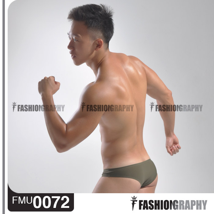 Olive Green Borderless Bikini Men's underwear 3