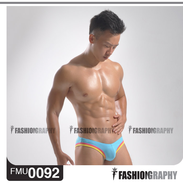 Light Blue Extra Low Waist U-cup Bikini Men's Underwear