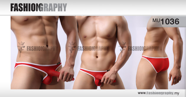 Red mesh pinocchio men's bikini underwear