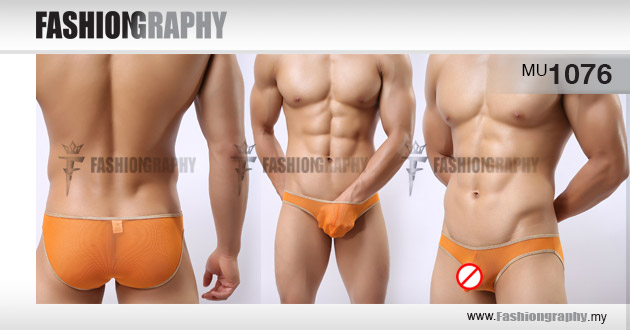 Orange Golden Edge Mesh Transparent Bikini Men's Underwear